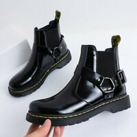 Womens Fashion Punk Round Toe Buckle Strap Motorcycle Shoes Chunky Ankle Boots