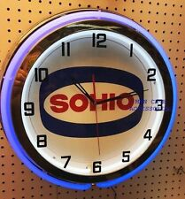"18"" SOHIO Standard Oil Ohio Sign Double Neon Clock"