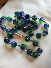 art deco Vintage Style Bicolour Lavender And Green Czech Glass  Bead necklace