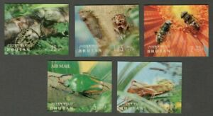 AOP Bhutan 3D stamps 1969 Insects 7v