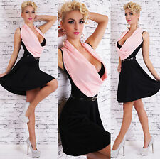 ITALY Damen Kleid Knielang  A-Linie Chiffon Wasserfall inkl. Gürtel schwarz-rosa