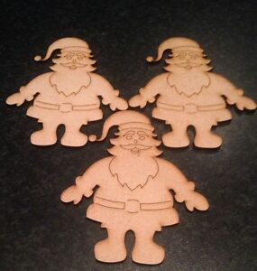 3x Santaclaus .size 110mm X 90mm.Christmas Ornament.3mm Mdf Blank Craft