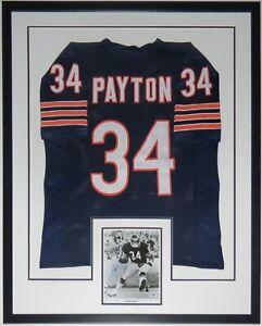 WALTER PAYTON AUTOGRAPHED 8X10 PHOTO & CHICAGO BEARS JERSEY PSA DNA COA FRAMED