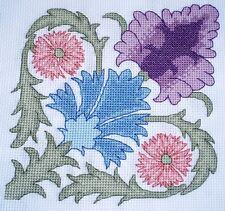 KL75 demorgan Stylisée Flowers Counted Cross Stitch Kit Par goldleaf Needlework