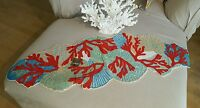 NEW PIER 1 WATERWAYS CORAL  HAND BEADED TABLE RUNNER OCEAN SHELL THEME GORGEOUS