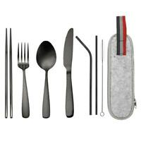 9pcs Set Stainless Steel Tableware Electroplated Outdoor Travel Accessories