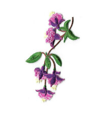 Fuchsia - Flower - Tropical - Hanging Plant - Embroidered Iron On Applique Patch