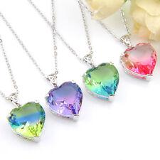 Xmas Lovely Heart Shaped Mystic Topaz Amethyst Garnet Gems Silver Pendants Sets