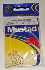 6 PORGY RIGS BEADED SALTWATER FISHING MUSTAD SNELLED HOOKS RIGGED SIZE 4 30lb