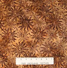 Batik Textiles Fabric - Blazing Sun on Brown & Mustard - Quilt Cotton YARD