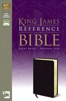 KJV, Reference Bible, Giant Print, Personal Size, Bonded Leather, Black, Red Let