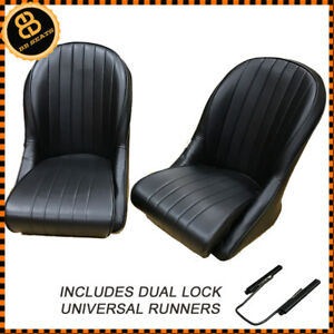 Pair BB Vintage Classic Car Seats Low Rounded Back + Universal Runners