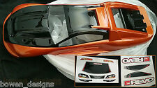 Custom Painted Body Shell E-Revo Traxxas 1/10 scale Tamiya Metallic Orange&Black