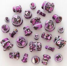 1 Pair 8g Organic Purple Agate Stone Single Flare Ear Plugs Eight Gauge 3mm