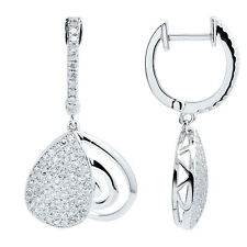 14K WHITE GOLD MICRO PAVE DIAMOND DANGLE DANGLING DROP HEART EARRINGS