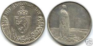NORVEGE HAAKON VII 2 KRONER ARGENT 1914 226,000 Ex !!
