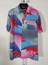 Double Rainbouu Multicolor Landscape Rayon Camp Loopneck Shirt Small