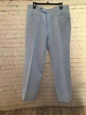 Vintage 1970s Pants 37x30 No Belt Invisabelt Baby Blue Straight Leg Golf or Work