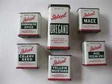 6 Vintage Ideal Spice Tins American Stores Co. Mace Oregano Mustard Pumpkin etc