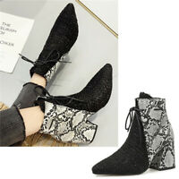 Ladies Snakeskin Lace Up Party Ankle Boots Women Pointy Toe Mid Block Heel Shoes