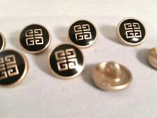 Black & Gold Enamel Metal Buttons Designer Retro Asian Set of 10