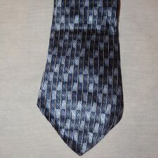 "Tie Blue Rectangle Stripes Geometric  Necktie 58"" Stafford 100% Silk"