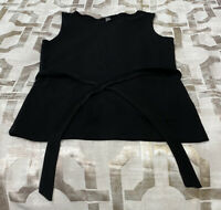 DKNY Women's Crew Neck Sleeveless With Tie Belt Top (Black, M)