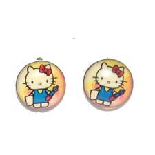 Boucles d'oreille enfant clou rockabilly Bijoux Argenté Hello Kitty