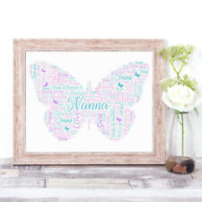 Personalised BUTTERFLY Word Art Print Typography Nanna Mum Sister Mother's Day