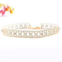 Mutli Rhinestone Crystal Fish bone Choker Collar Beads Pendant Chain Necklace