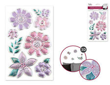 Foil Shimmer Embossed FLOWERS 7 wall stickers 3-D decals room decor