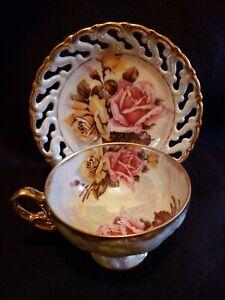 Beautiful Vintage Tea Cup and Saucer, Pink, yello,Gold Royal Sealy China, Japan.