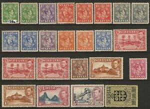 St Lucia GVI 1938-48 set (17) SG 128a-141 Mint Hinged cat 80.00 gbp.