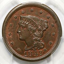 1847/1847 N-1 PCGS MS 62 BN Braided Hair Large Cent Coin 1c