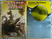 Pair of Gordon R. Dickson Sci Fi Novels 1970s Hardcover Ancient My Enemy Dragon