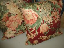 RALPH LAUREN DESERT PLAINS RED FLORAL SATEEN (2) SQUARE THROW PILLOWS 20 X 20