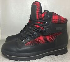 Timberland Woolrich Men Black Red Plaid Ankle Boots Size 11 M