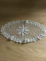 Vintage ecru cotton lace crochet doily / mat