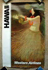 Vintage Original 1970s WESTERN AIRLINE - HAWAII Travel Poster train art air