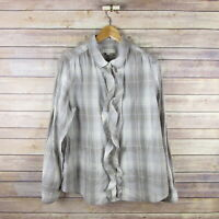 ANN TAYLOR LOFT Ruffle Trim Long Sleeve Button Front Blouse L Large Gray Plaid