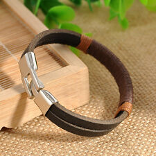 Fashion Men Surfer Hemp Leather Wrap Wristband Cuff Bangle Bracelet Black Brown