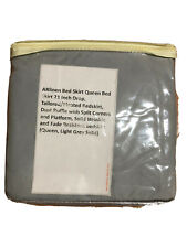 "Brand New Pleated Queen Bed Skirt 21"" Drop Light Grey"