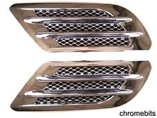 2 Side Wing Air Flow Intake Vent Trim Fender Grill Universal Black Chrome SEALED