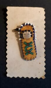 Vintage 1950s/ 1960s Ladies Brooch. Baby in Beaded Papoose. First Nation-Made