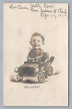 "Cute Boy in Fake Car ""Judson H Clark"" RPPC Cambridge Springs PA Crawford County"