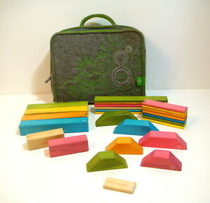 Tegu Blocks with Grey Felted Carrying Case