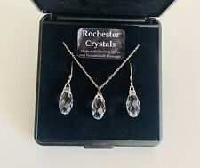Sterling Silver & Rochester Crystal Boxed Necklace & Earrings Set inc Swarovski