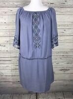 Xhilaration Women's Blue Gauze Embroidered 3/4 Sleeve Shift Dress Size Small