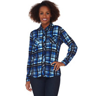 Denim & Co. Brushed Heavenly Jersey Plaid Button Front Shirt - Blue - Small