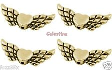30 Antique or ailes d'ange Coeur Charms Ange Gardien Ailes Coeur 22 mm en vrac